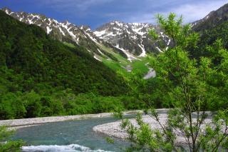 上高地の定番穂高岳と梓川